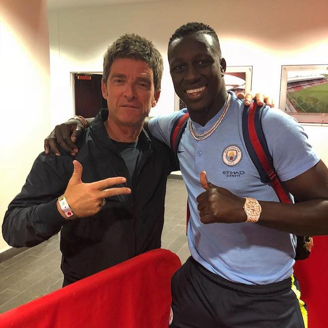 Benjamin Mendy with Oasis band member Noel Gallagher in August 2018