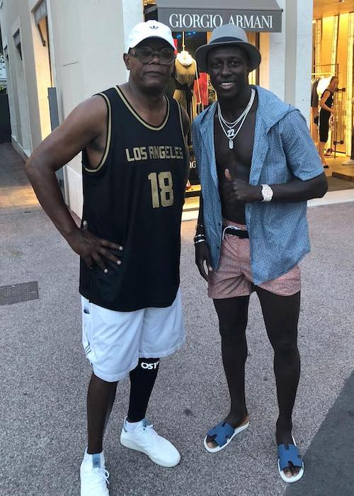 Benjamin Mendy with Samuel L. Jackson in August 2018