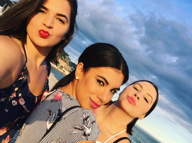 Chrissie Fit (Center) with her girlfriends Joeelis Quintana (Left) & Katherine (Right) in Nice, France in May 2018