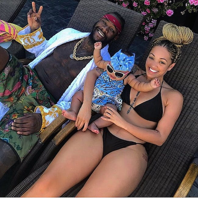 Deontay Wilder with model Telli Swift and their child Kaorii Lee Wilder as seen in June 2018