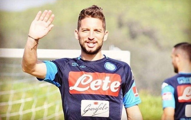 Dries Mertens during a training session with Napoli in September 2017