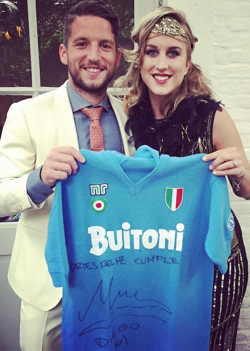 Dries Mertens with wife Katrin Kerkhofs in May 2016