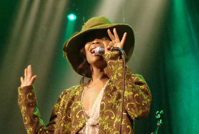 Erykah Badu while delivering a singing performance in 2005