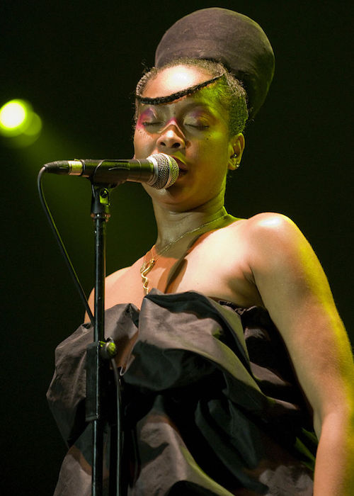 Erykah Badu while giving a performance in 2008