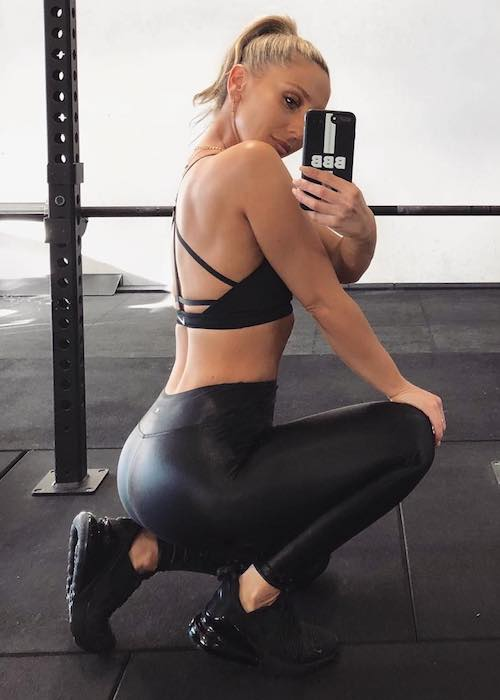 Felicia Oreb of Base Body Babes workout selfie at Base Body Studio in August 2018