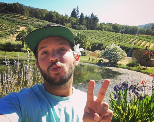 Heath Hussar pouting in a selfie at Benziger Family Winery in August 2016