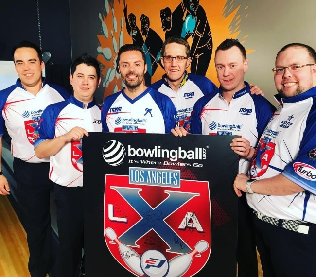 Jason Belmonte with his Bowling Ball mates in April 2018
