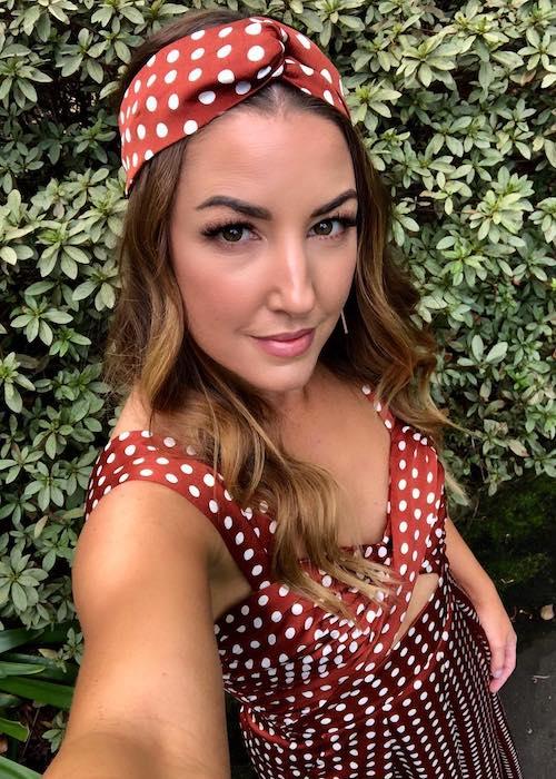Jules Sebastian in polka dot dress in a May 2018 selfie