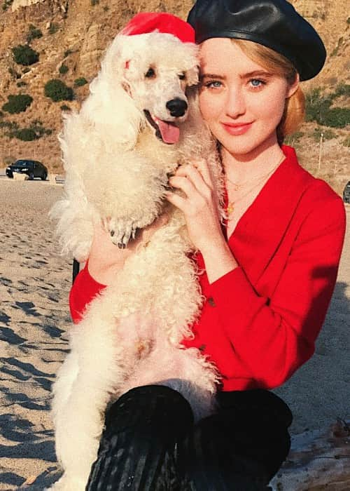 Kathryn Newton with her dog as seen in December 2017