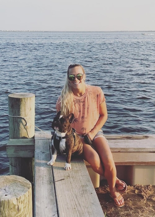 Katlyn Chookagian with her dog Pablo at Amity Harbor, New York in August 2018