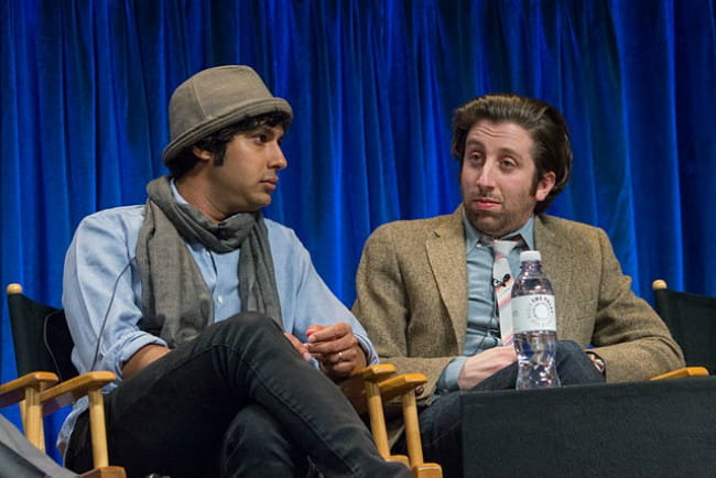 Kunal Nayyar (Left) and Simon Helberg at PaleyFest in March 2013