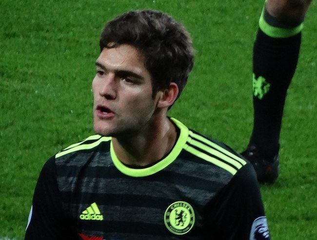 Marcos Alonso during a game for Chelsea in 2017