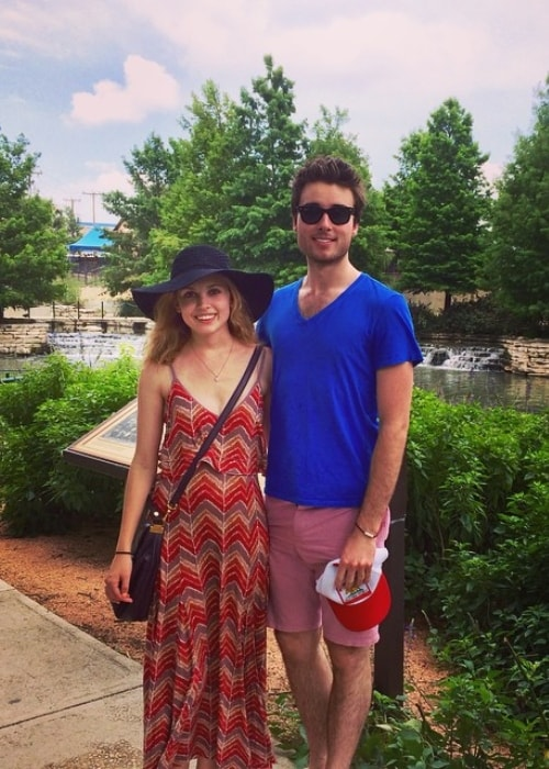 Meaghan Martin with Oli Higginson at The San Antonio River Walk in June 2015