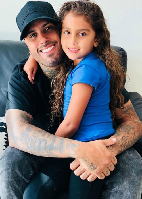 Nicky Jam with his daughter as seen in August 2018