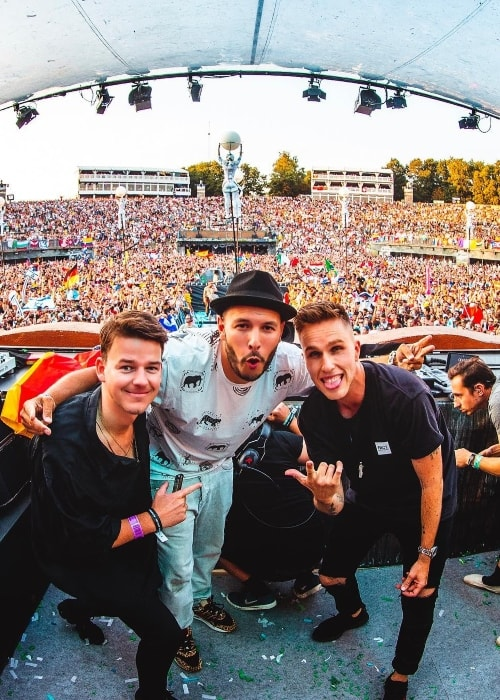 Nicky Romero (Right) at Tomorrowland with Hatim el khatib and Jorik van de Pol (Left) in July 2018