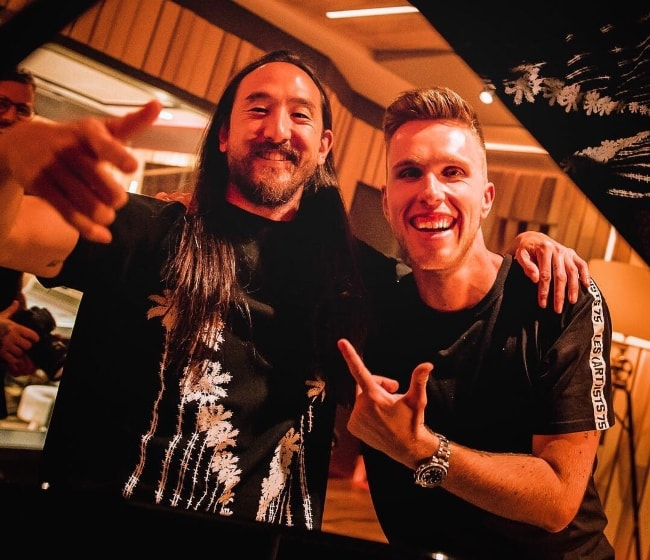 Nicky Romero (Right) with Steve Aoki at Protocol Studios in July 2018