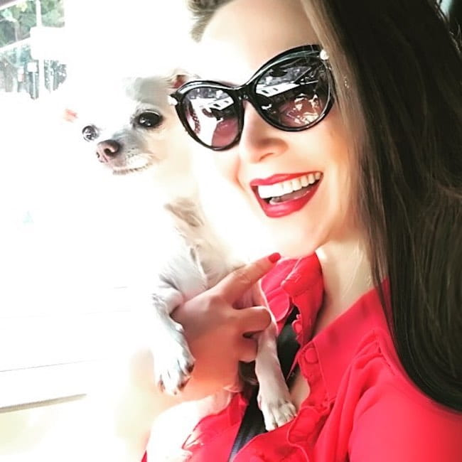 Ortenzia Borre in a selfie with her dog Bambi in September 2017
