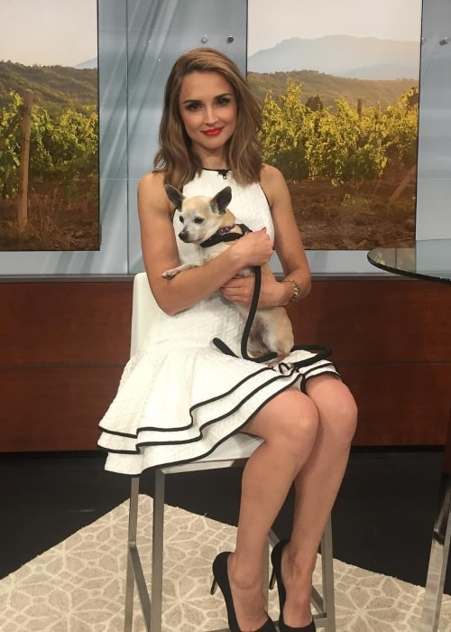 Rachael Leigh Cook holding a hold named Rocky in August 2017