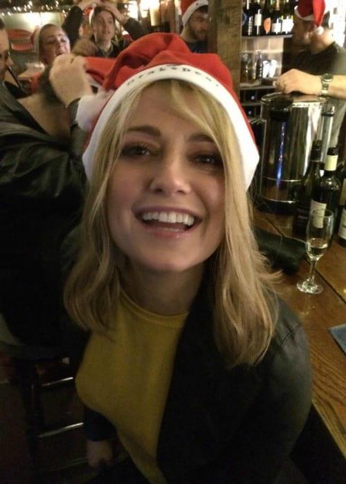 Rachel Wilde wearing a Christmas hat in December 2014