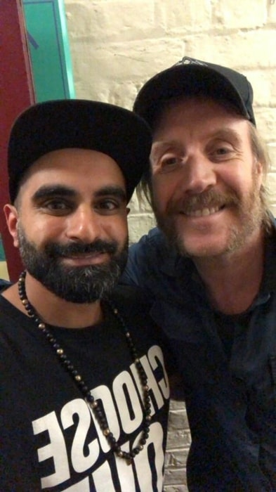 Rhys Ifans (Right) with Tez Ilyas at The Old Vic Theatre in January 2018