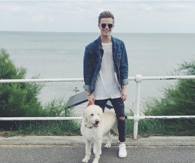 Ronan Parke with his dog in August 2016
