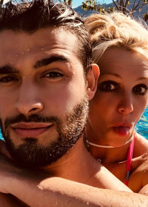 Sam Asghari and Britney Spears in a selfie in July 2018