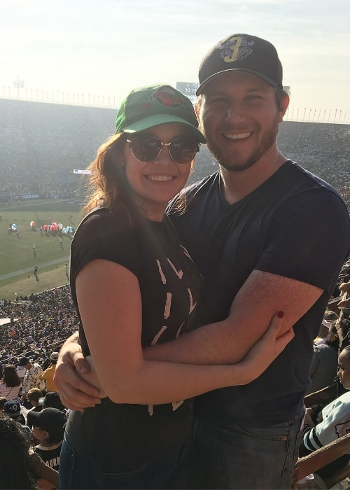 Shelley Regner with Nick Bredosky during a game in February 2018