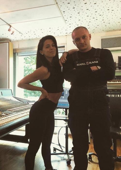 Vanessa Mai at the studio with Olexesh in June 2018