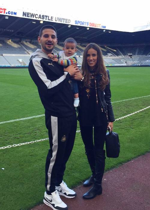Aleksandar Mitrović with his partner Kristina and son in 2016
