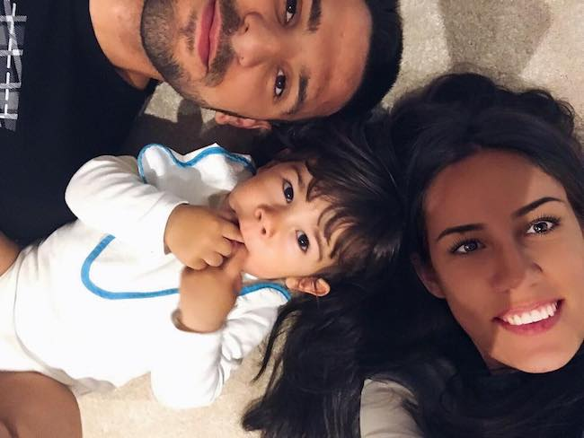 Aleksandar Mitrović with his partner Kristina and son in January 2018
