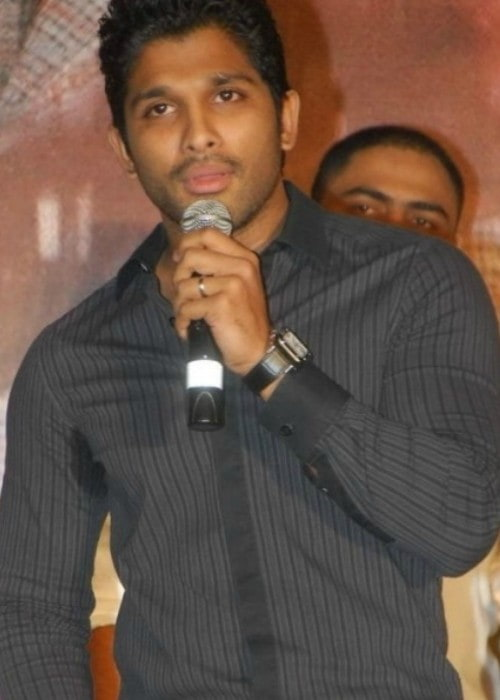 Allu Arjun at the audio launch of the Telugu dubbed version of Eeram in April 2011