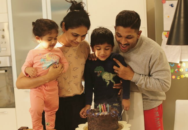 Allu Arjun with his family as seen in April 2018