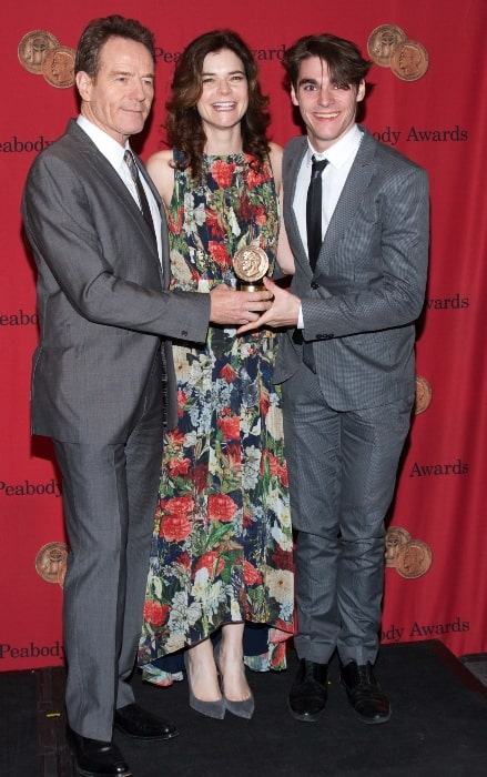 Betsy Brandt with RJ Mitte (Right) and Bryan Cranston (Left) at the 73rd Annual Peabody Awards for Breaking Bad