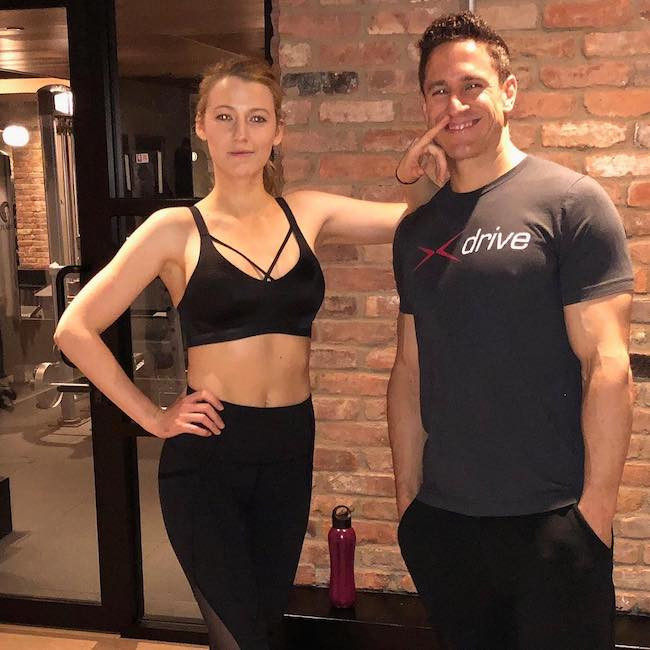 Blake Lively and Don Saladino during a training session