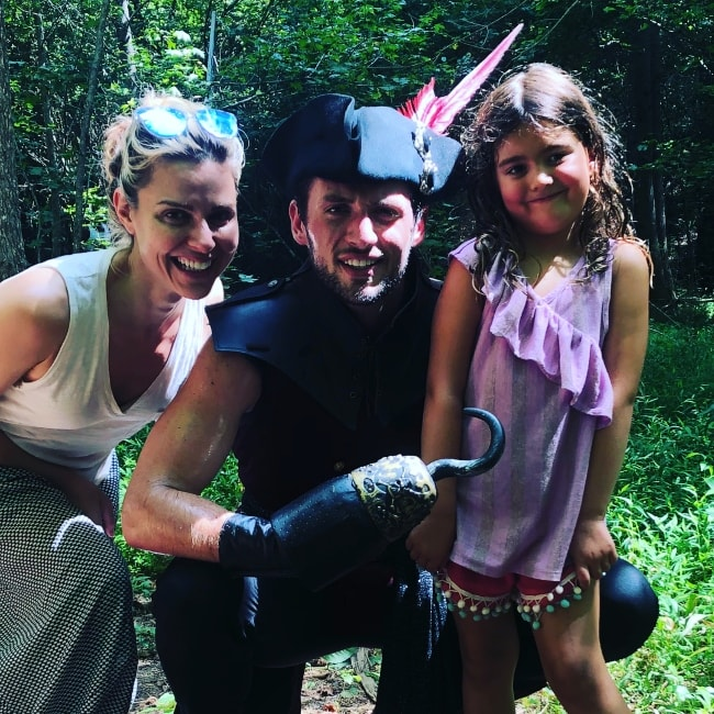 Cara Buono as seen with her family dressed up as Captain Hook, Peter Pan and the crew at Serenbe Playhouse in August 2018