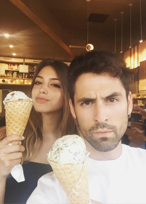 Celine Farach enjoying a dairy free ice-cream with Adam Friedman in Abbot Kinney, Venice in July 2016