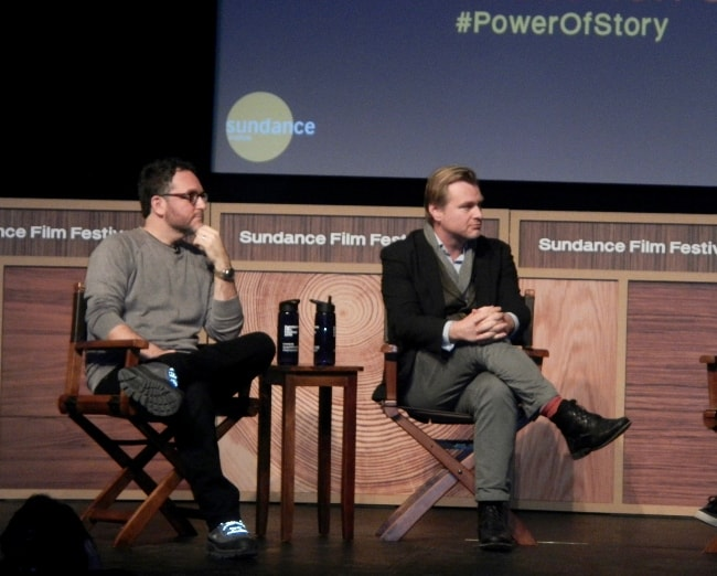 Christopher Nolan (Right) with Colin Trevorrow during the 'Power of Story: The Art of Film' event at the 2016 Sundance Film Festival