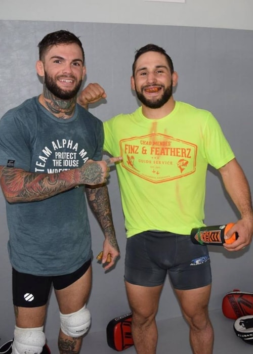 Cody Garbrandt (Left) with Chad Mendes as seen in October 2017