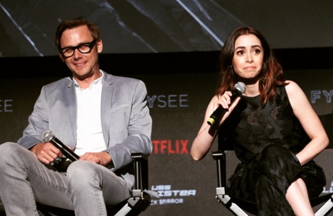Cristin Milioti holding the mike during the FYSEE event for Black Mirror
