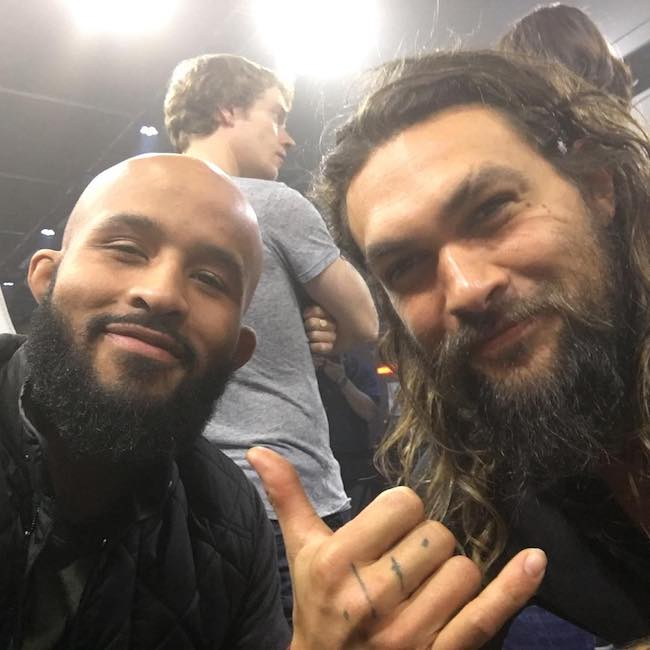 Demetrious Johnson with Jason Momoa in February 2017