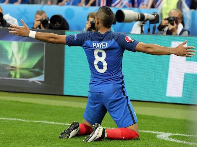 Dimitri Payet celebrating after scoring a goal in Euro 2016