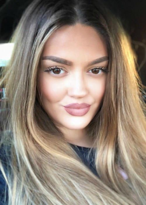 Enca Haxhia in an Instagram selfie as seen in May 2018