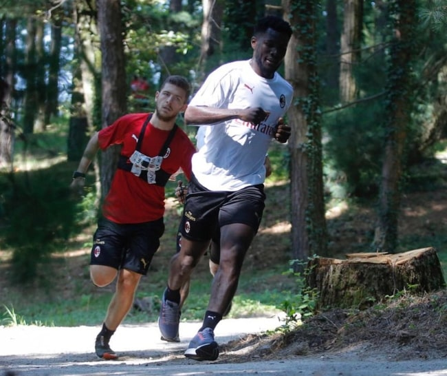Franck Kessié as seen during one of his training sessions in the woods in July 2018