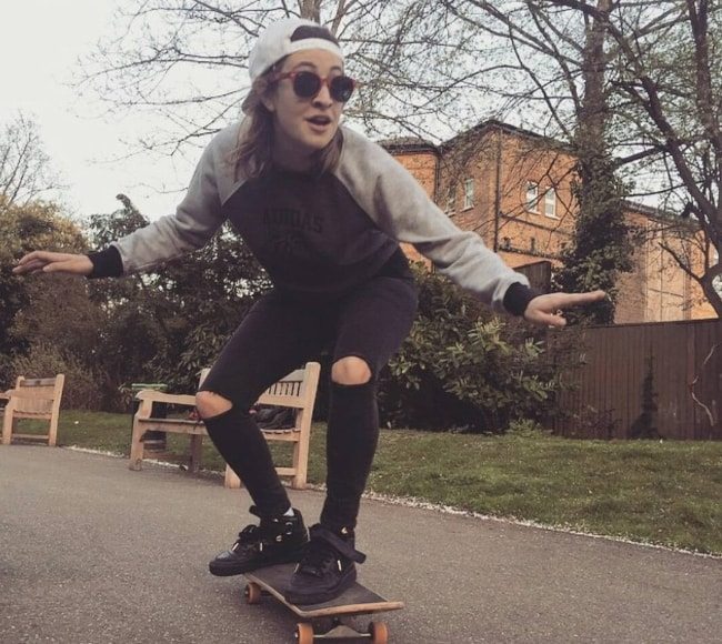 Georgia Groome as seen while skateboarding