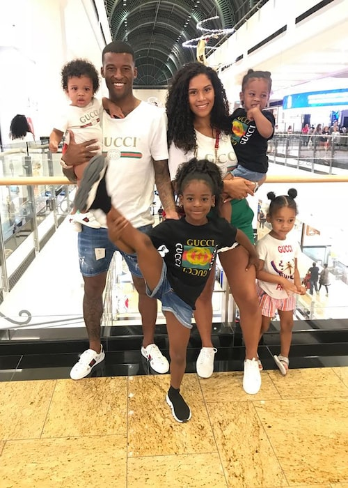 Georginio Wijnaldum with his family members at Dubai, UAE in June 2018
