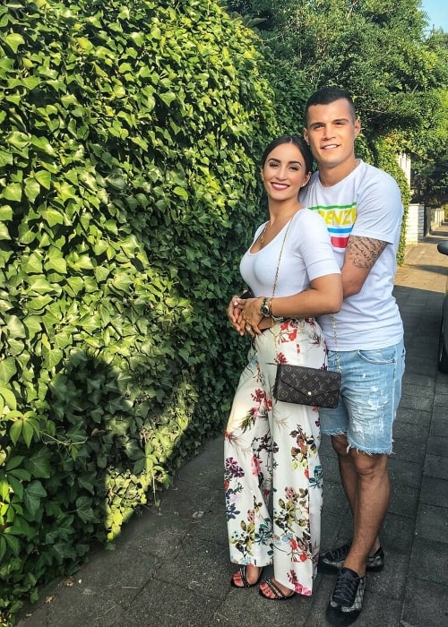 Granit Xhaka with Leonita Xhaka in July 2018