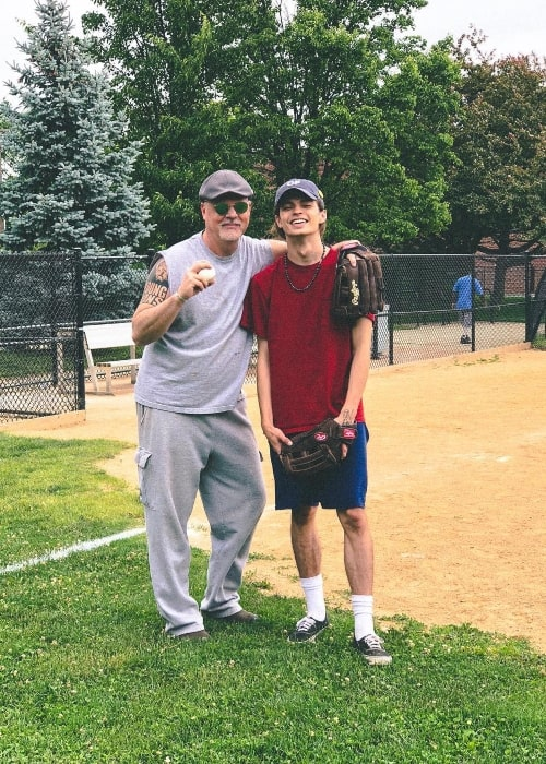 Ian Eastwood with his father at Horace Mann Elementary School in June 2018