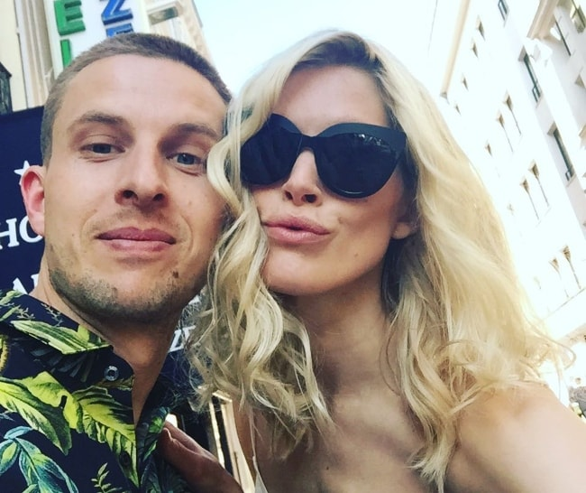 Iselin Steiro at the Cannes Film Festival with Anders Danielsen Lie in May 2016