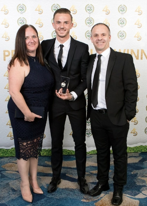 James Maddison with his parents at the PFA Awards at Grosvenor House, A JW Marriott Hotel in April 2018