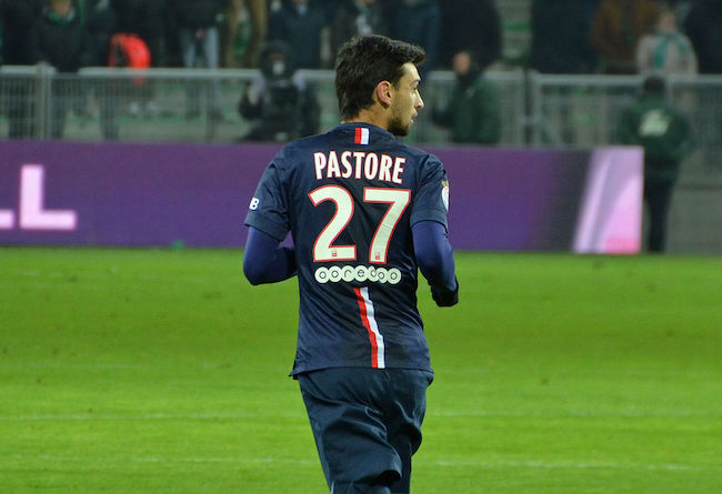 Javier Pastore at the Geoffroy Guichard stadium during the match between Saint Etienne and Paris SG in January 2015